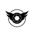 shutter and wings shaped camera logo vector image vector image