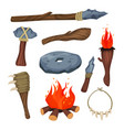 stone age symbols set weapon and tools of caveman vector image vector image