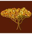 Stylized abstract orange defoliation tree vector image vector image