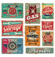 vintage car service and gas station metal vector image vector image