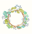 watercolor frame with leaves and seeds and twine vector image vector image