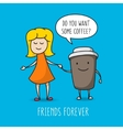 Girl and coffee cup vector image