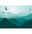 Birds Flying Over Mountains Backdrop vector image