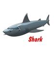 Dangerous cartoon shark character vector image