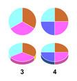 2d 3 d fraction pie fractions vector image vector image