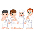 a people are using white cloth for umrah vector image vector image