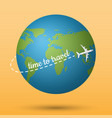 airplane flying on the planet earth with time to vector image
