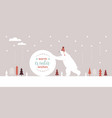 big polar bear in knitted red hat rolls a big snow vector image vector image