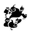 black cartoon shapes on halloween theme vector image vector image