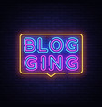 blog neon text blogging neon sign design vector image