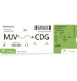 boarding pass green airplane ticket vector image vector image