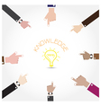 Businessman hand symbol with doodle light bulb sig vector image vector image