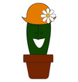 cactus in pot with hat on white background vector image vector image