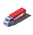 cargo truck trailer with container isometric vector image vector image