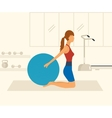 Cartoon of a woman exercising with vector image vector image