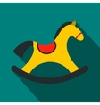 Children rocking horse flat icon vector image