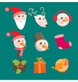 christmas icons objects collection detailed vector image