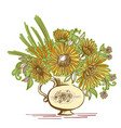 color floristic composition vintage bouquet of vector image vector image
