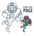 coloring page with rugby football player cartoon vector image vector image