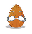 crying almond nut character cartoon vector image