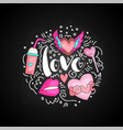 cute doodle love text in round form colored vector image