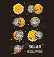cute moon practice of yoga solar eclipse in vector image vector image