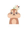 cute woodchuck animal wearing headdress vector image vector image