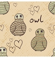 Doodle owls seamless pattern vector image