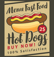fast food menu with hot dog vector image vector image