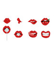 female lips set of different gestures isolated on vector image vector image