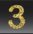 gold glittering number three shining vector image vector image