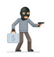gun armed robbery stole money suitcase evil vector image