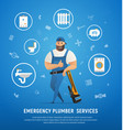 handsome company plumber service with wrench vector image