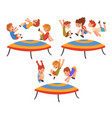 happy kids jumping on trampoline set smiling vector image vector image