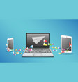 laptop smartphone and tablet transfering data vector image