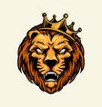 lion king mascot head crown logo vector image