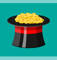 magic hat and gold coins vector image vector image