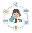 man cartoon social media icons vector image vector image