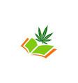 marijuana leaf open book logo vector image