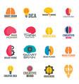 mind brain icon set flat style vector image vector image