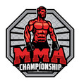 mma championship badge design vector image vector image