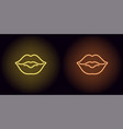 neon lips in yellow and orange color vector image