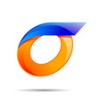 Number zero 0 logo orange and blue color with fast vector image vector image