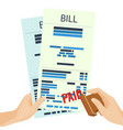 paid bill in human hands with rubber stamp vector image