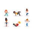 people doing body weight training sit up squat vector image