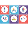 people playing and relaxing in park cartoon banner vector image vector image