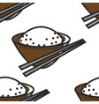 rice in bowl and chopsticks seamless pattern north vector image vector image
