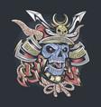 samurai skull wearing helmet vector image vector image
