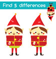 santa claus elf find differences educational vector image vector image