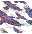 seamless pattern hand-drawn crows with ethnic vector image vector image